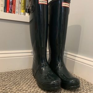 Hunter Original Tall Gloss Rain Boots | Green